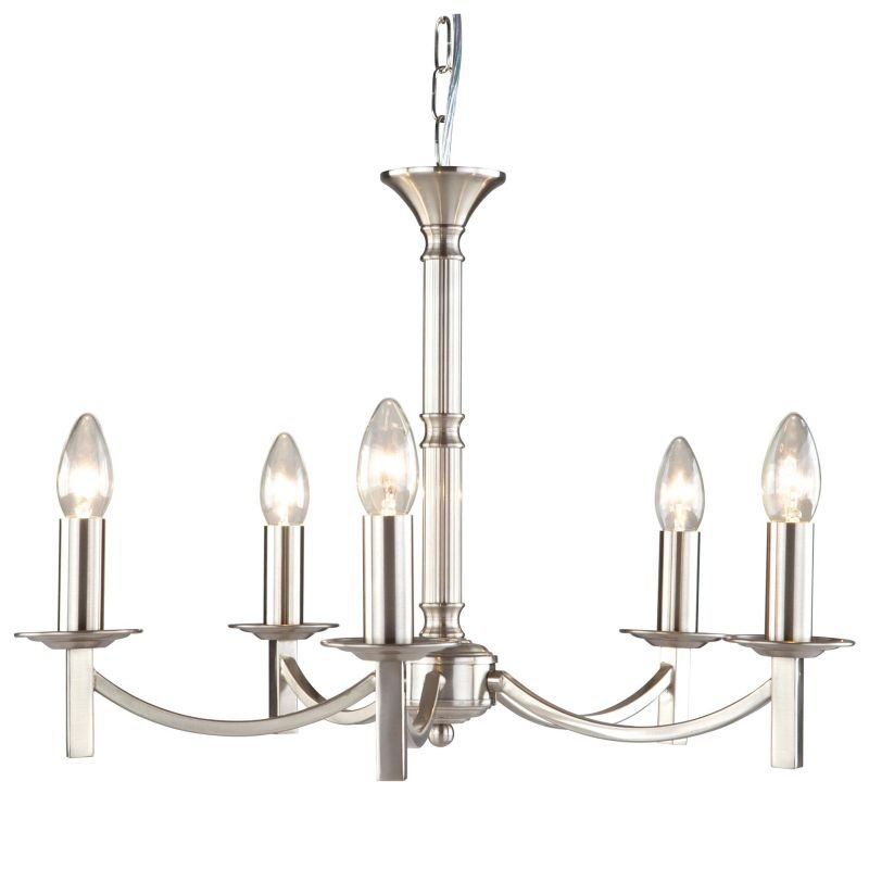 Cork-Lighting-LF2633/5SN - Lugano - Traditional Satin Nickel 5 Light Centre Fitting