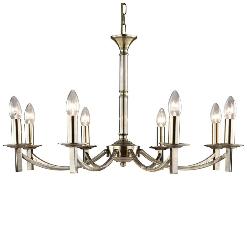 Cork-Lighting-LF2633/8AB - Lugano - Traditional Antique Brass 8 Light Centre Fitting