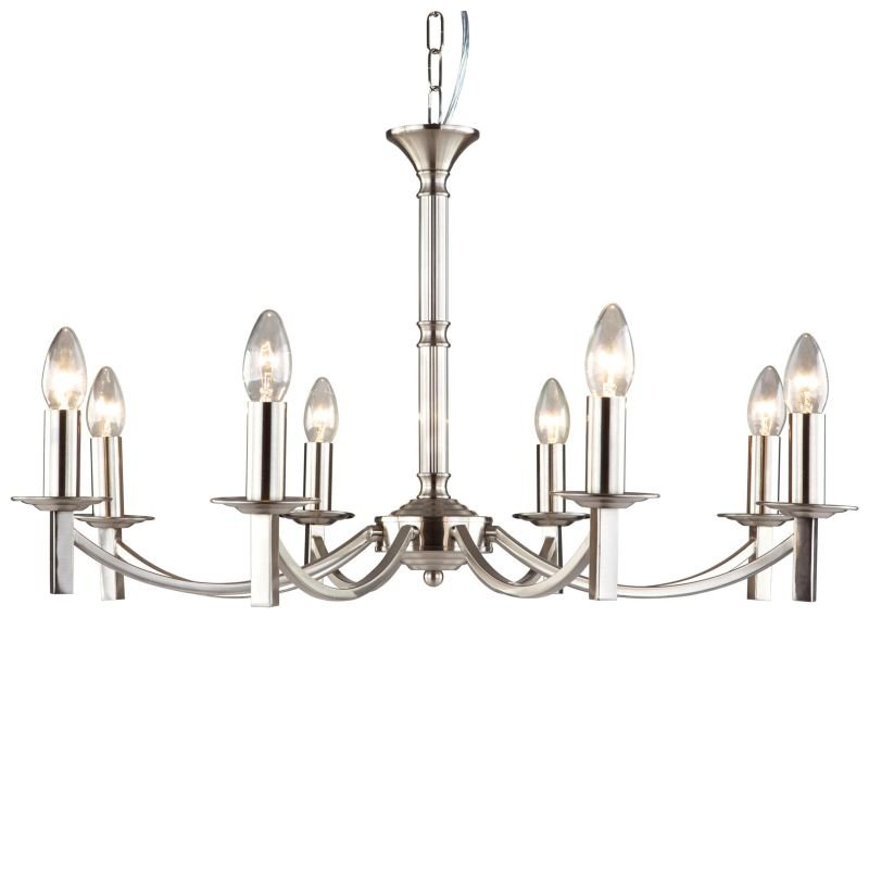 Cork-Lighting-LF2633/8SN - Lugano - Traditional Satin Nickel 8 Light Centre Fitting