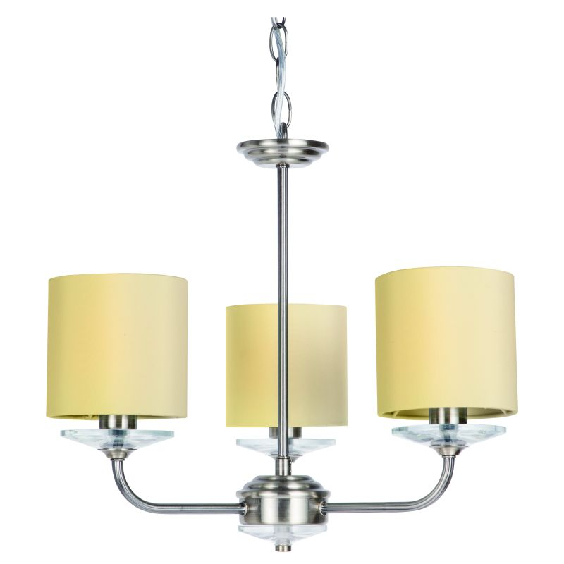 Cork-Lighting-LF8432/3AB - Stylo - Cream & Antique Brass with Crystal 3 Light Centre Fitting