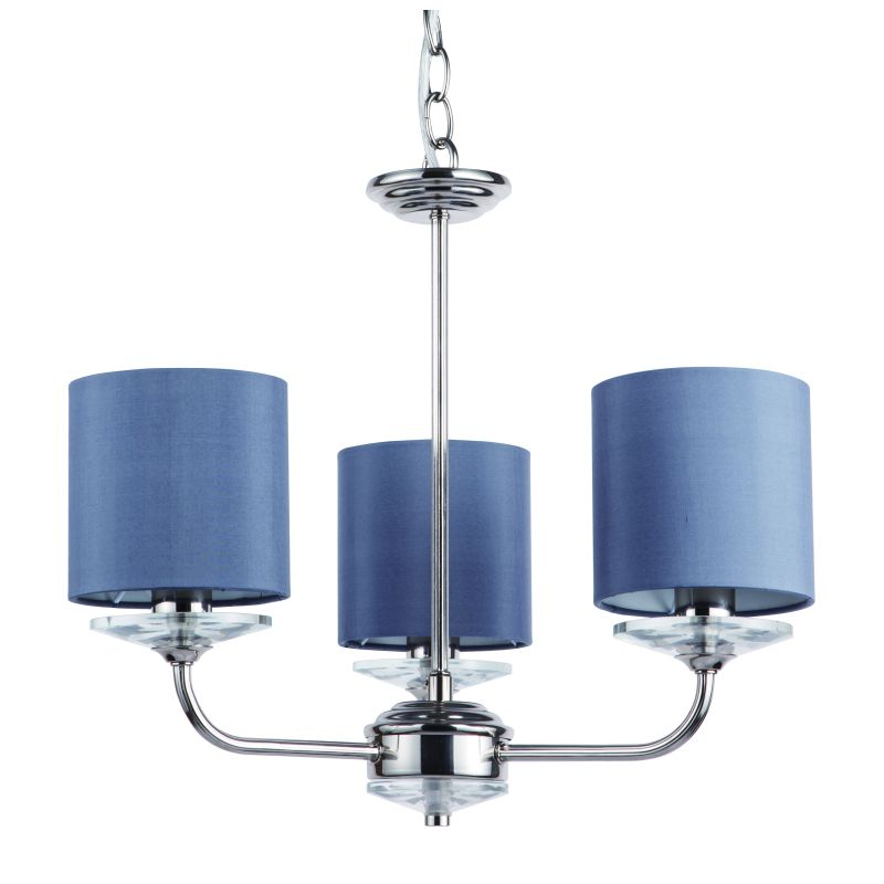 Cork-Lighting-LF8432/3NK - Stylo - Grey Shade & Nickel with Crystal 3 Light Centre Fitting