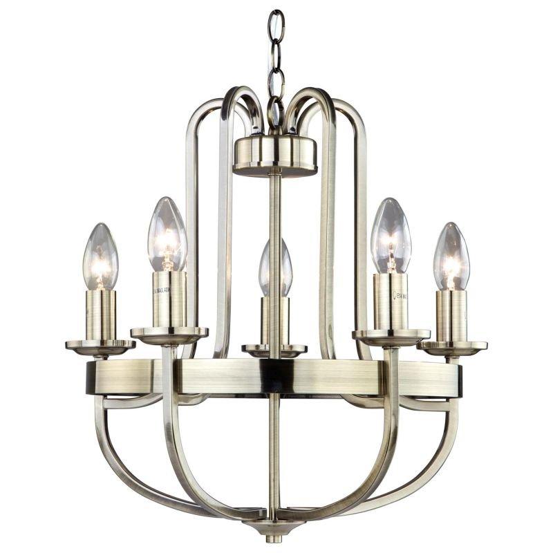 Cork-Lighting-LF8662/5ANT - Bassle - Antique Brass 5 Light Centre Fitting