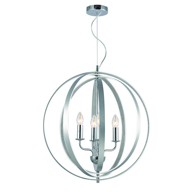 Cork Lighting-PF1506/4SIL - Bantry - Silver & Diamonds Details 4 light Pendant