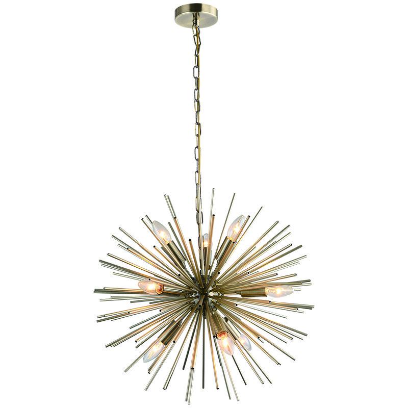 Cork Lighting-PF17235/9AB - Bursting Star - Antique Brass 9 Light Sputnik Pendant