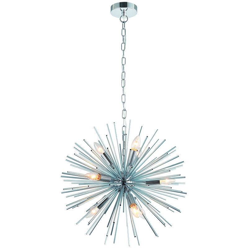 Cork Lighting-PF17235/9CR - Bursting Star - Polished Chrome 9 Light Sputnik Pendant