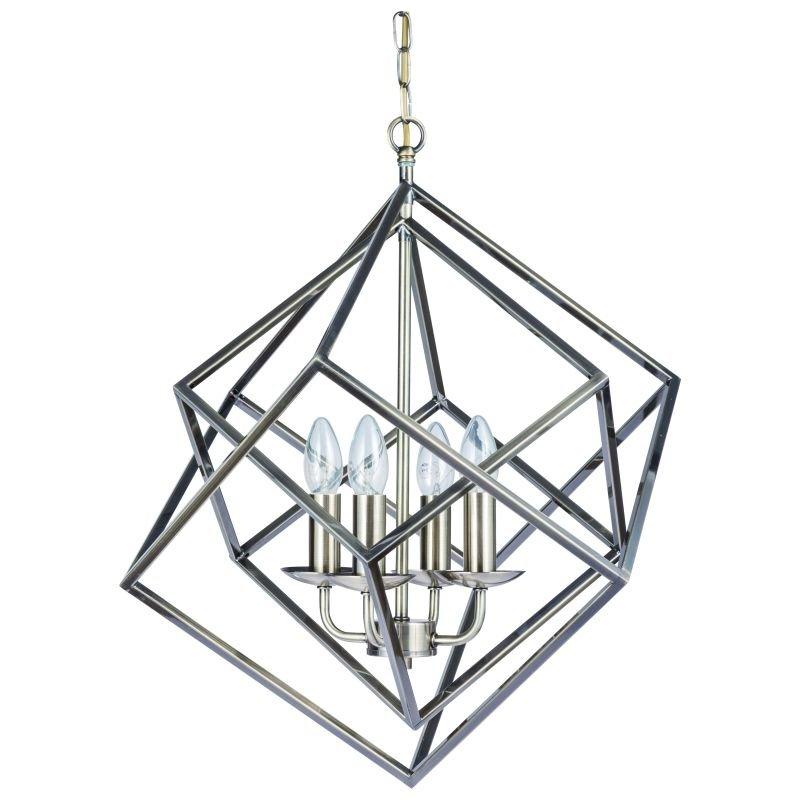 Cork-Lighting-PF2472/4ANT - Kinsale - Antique Brass 4 Light Geometric Cube Pendant