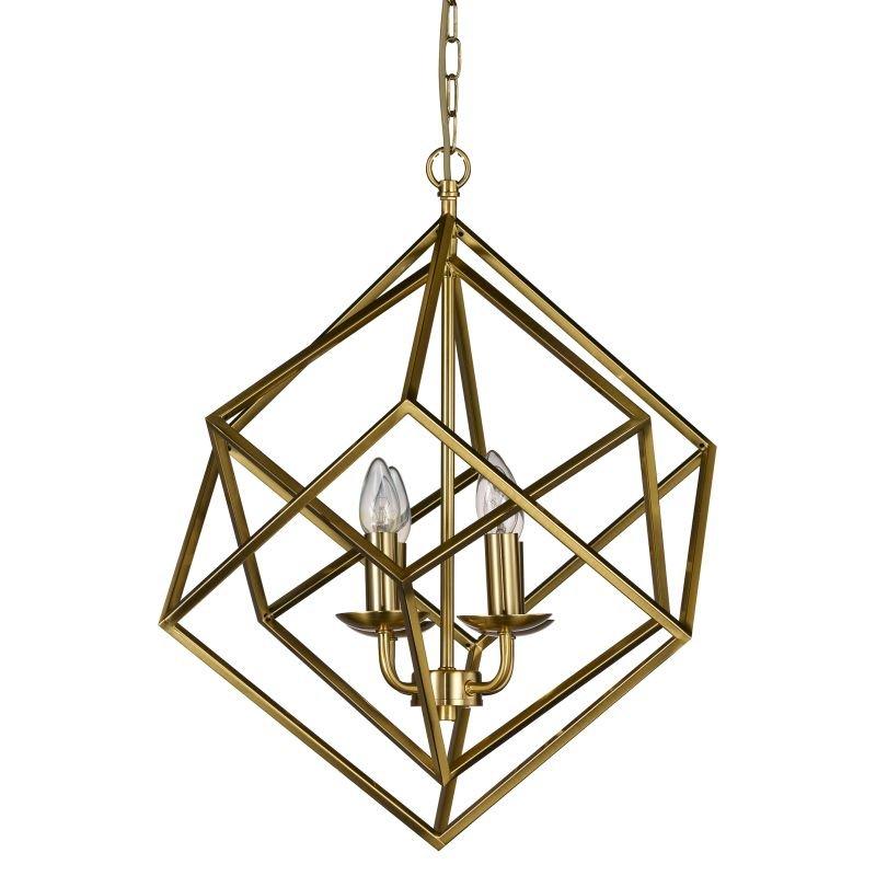 Cork-Lighting-PF2472/4MB - Kinsale - Matt Brass 4 Light Geometric Cube Pendant