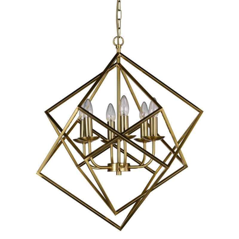 Cork-Lighting-PF2472/6MB - Kinsale - Matt Brass 6 Light Geometric Cube Pendant