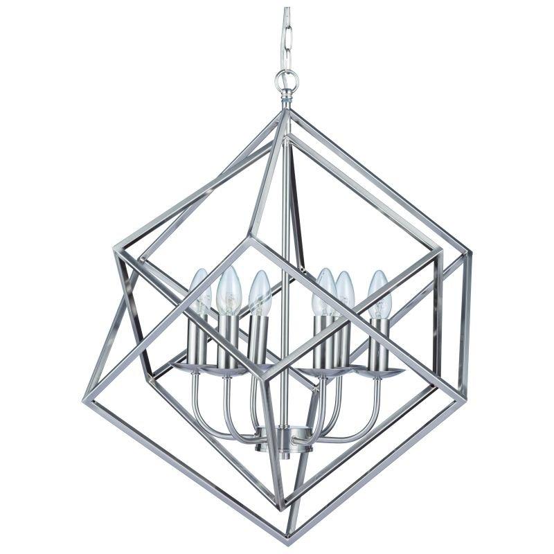 Cork-Lighting-PF2472/6SN - Kinsale - Satin Nickel 6 Light Geometric Cube Pendant