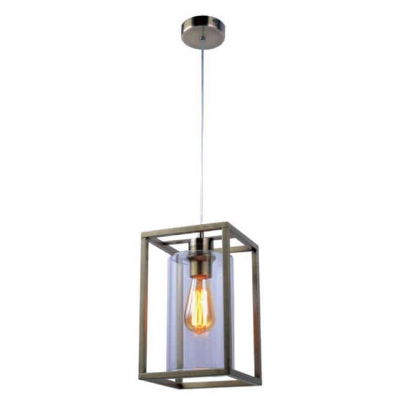 Cork Lighting-PF3366/1AB - Hampton - Antique Brass Single Cage Pendant
