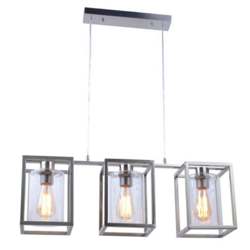Cork Lighting-PF3366/3SN - Hampton - Satin Nickel Cage with Glass 3 Light Over Island Fitting