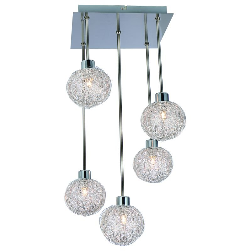 Cork-Lighting-PF4666/5L - Emily - Satin Nickel with Mesh Shades 5 Light Centre Fitting