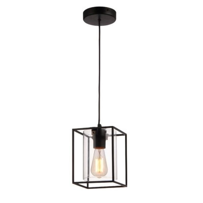 Cork Lighting-PF8431/1BL - Tower Square - Black Metal Cage with Glass Single Pendant