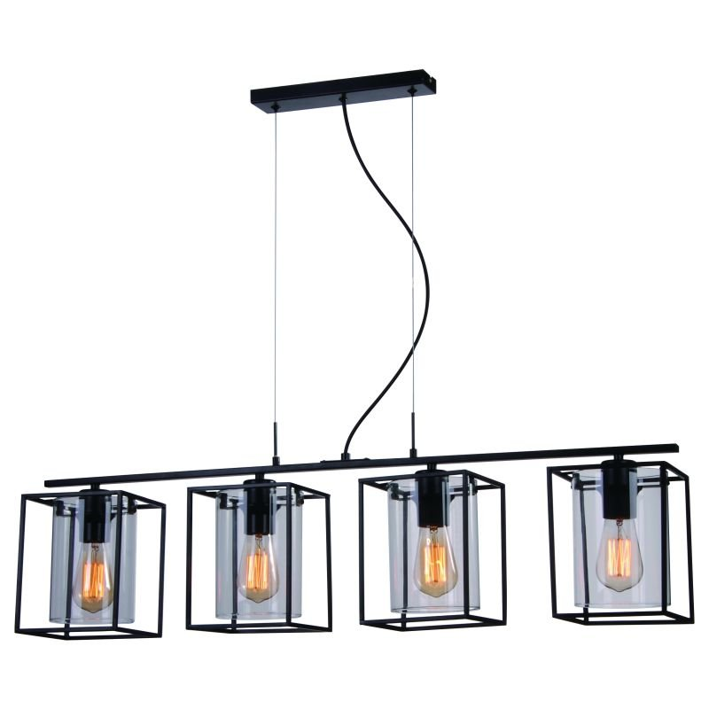 Cork-Lighting-PF8431/4BL - Tower Square - Black Metal Cage with Glass 4 Light Over Island Fitting