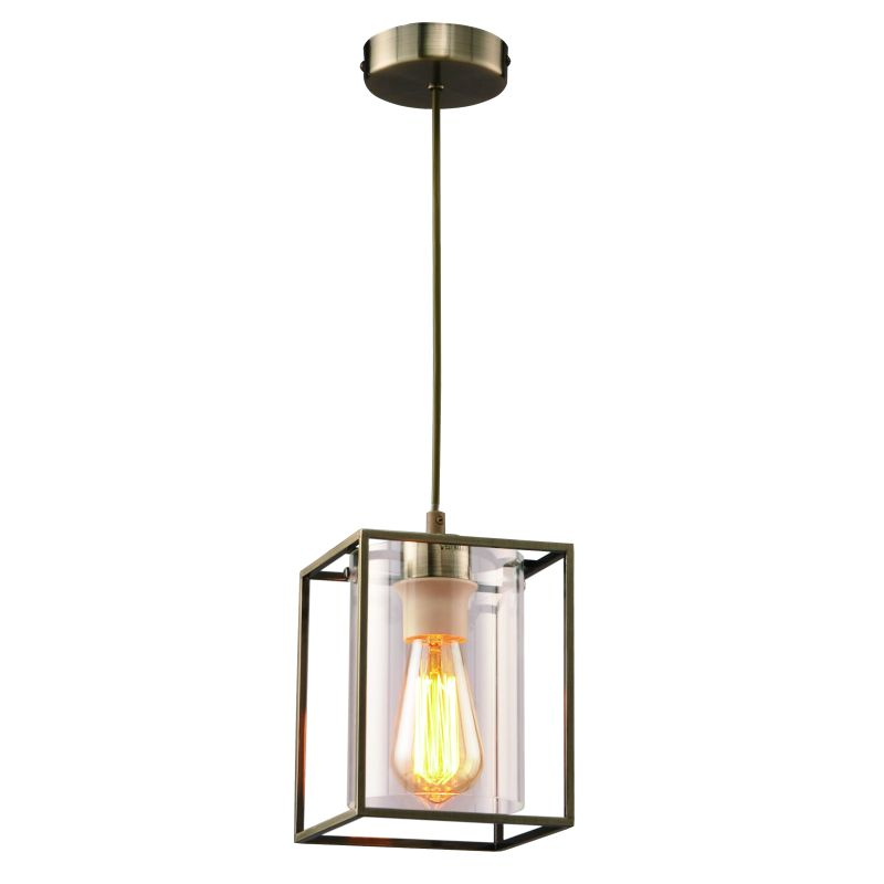 Cork Lighting-PF8431/1ANT - Tower Square - Antique Brass Metal Cage with Glass Single Pendant