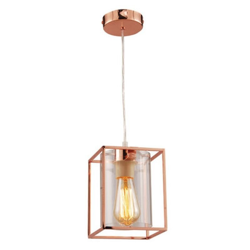 Cork Lighting-PF8431/1COP - Tower Square - Copper Metal Cage with Glass Single Pendant