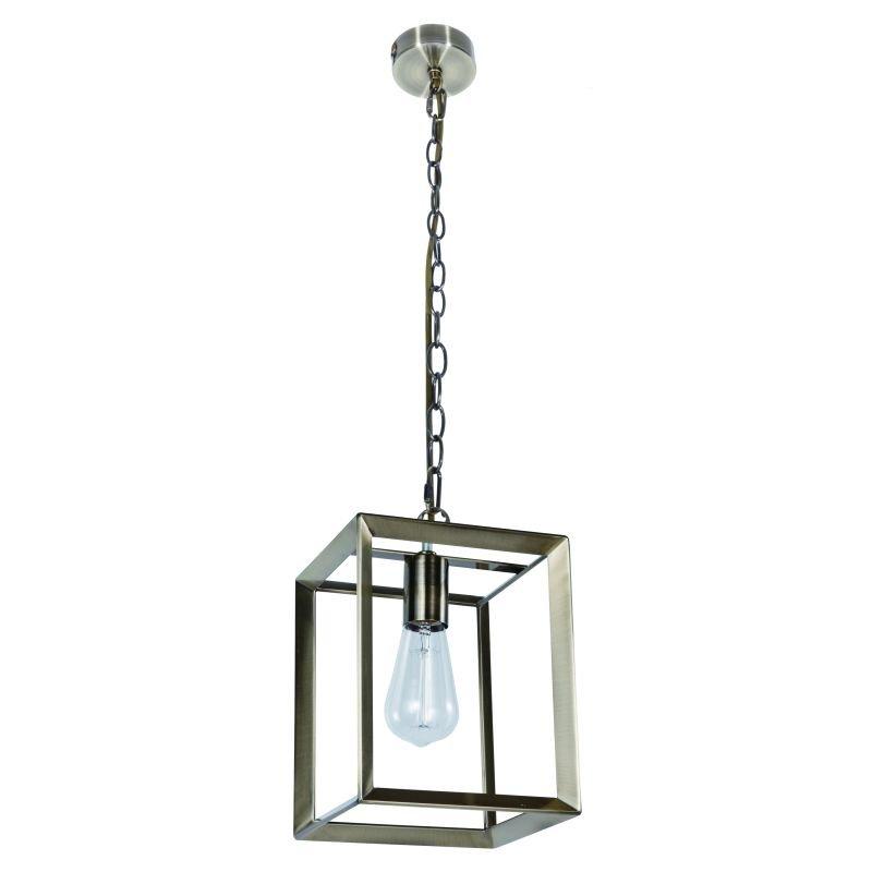 Cork Lighting-PF8608/ANT - Galley - Antique Brass Metal Cage Single Pendant