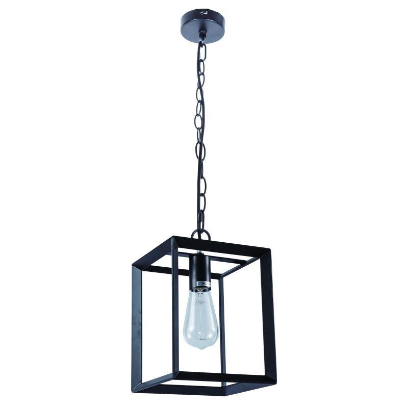 Cork Lighting-PF8608/BL - Galley - Black Metal Cage Single Pendant