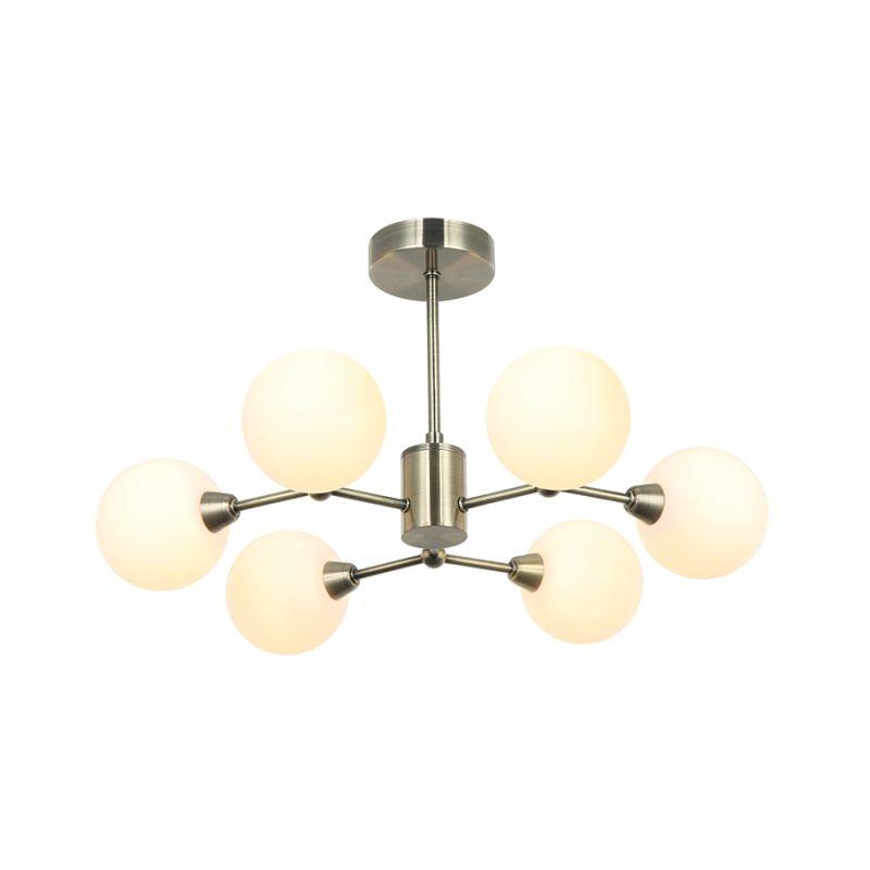 Cork-Lighting-PF9710/6AB - Morley - Antique Brass with White Glass 6 Light Semi Flush