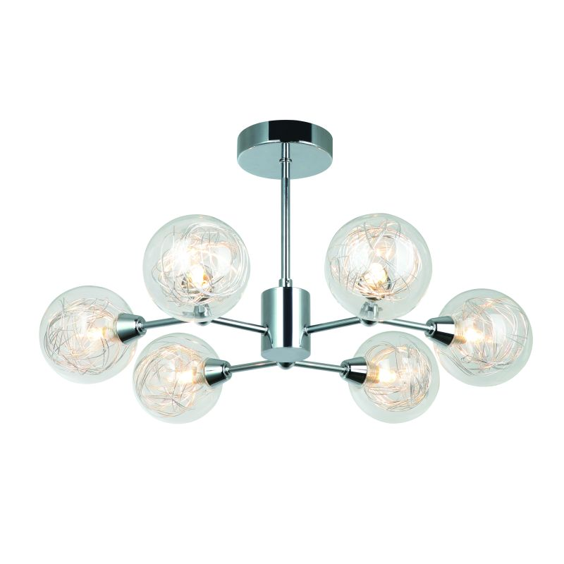 Cork-Lighting-PF9710/6CR - Morley - Chrome with Clear Glass & Wire 6 Light Semi Flush