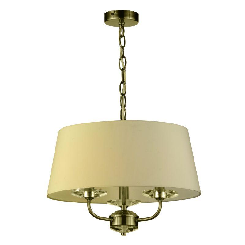 Cork-Lighting-PFSTYLO/3AB - Stylo - Cream & Antique Brass with Crystal 3 Light Pendant