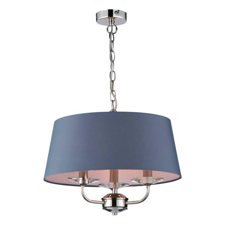 Cork-Lighting-PFSTYLO/3NK - Stylo - Grey Shade & Nickel with Crystal 3 Light Pendant