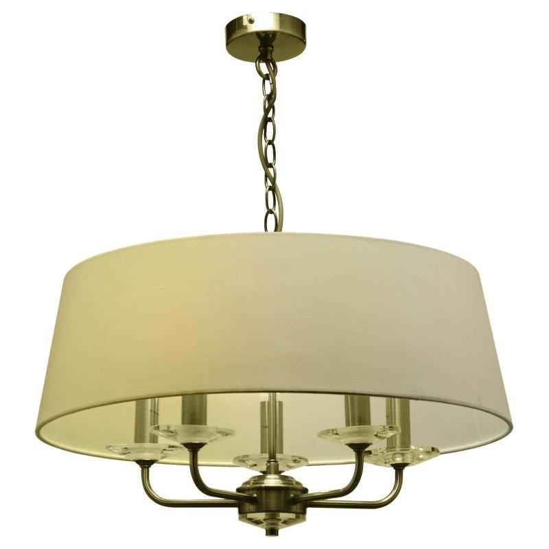 Cork-Lighting-PFSTYLO/5AB - Stylo - Cream & Antique Brass with Crystal 5 Light Pendant