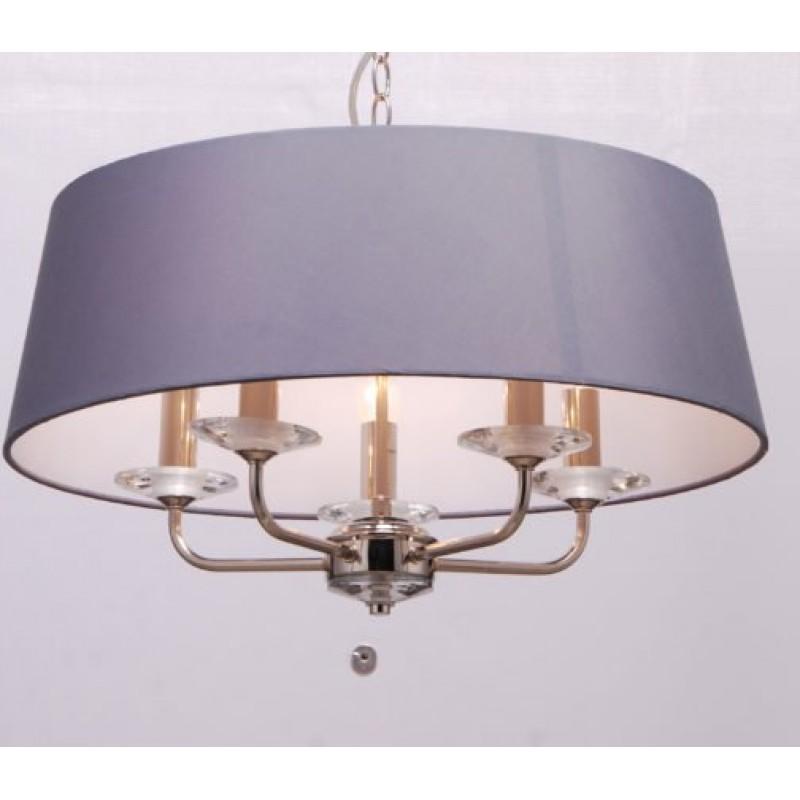 Cork-Lighting-PFSTYLO/5NK - Stylo - Grey Shade & Nickel with Crystal 5 Light Pendant