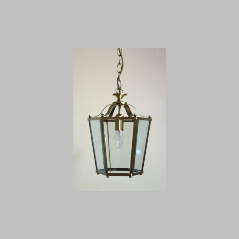 Cork-Lighting-PL170/1AB - Lanterns - Antique Brass with Glass Single Lantern Pendant
