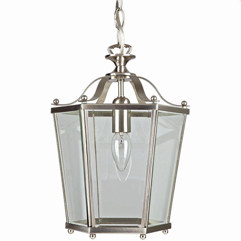 Cork-Lighting-PL170/1SN - Lanterns - Satin Nickel with Glass Single Lantern Pendant