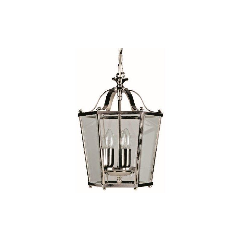 Cork-Lighting-PL171/3SN - Lanterns - Satin Nickel with Glass 3 Light Lantern Pendant