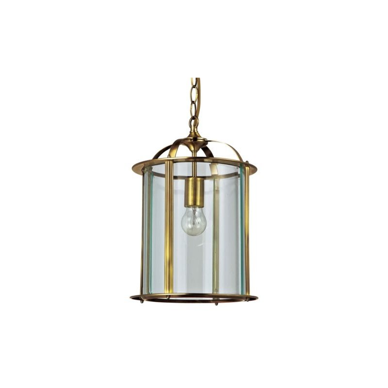 Cork-Lighting-PL2165/1AB - Lanterns - Antique Brass with Glass Single Lantern Pendant