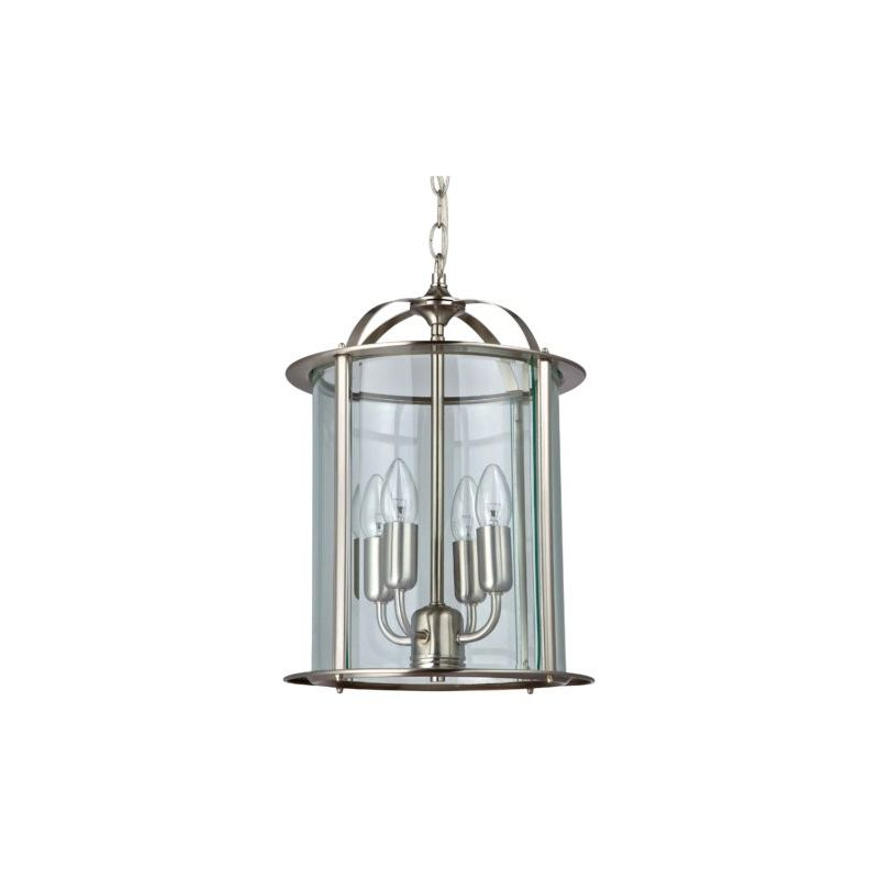 Cork-Lighting-PL2165/4SN - Lanterns - Satin Nickel with Glass 4 Light Lantern Pendant