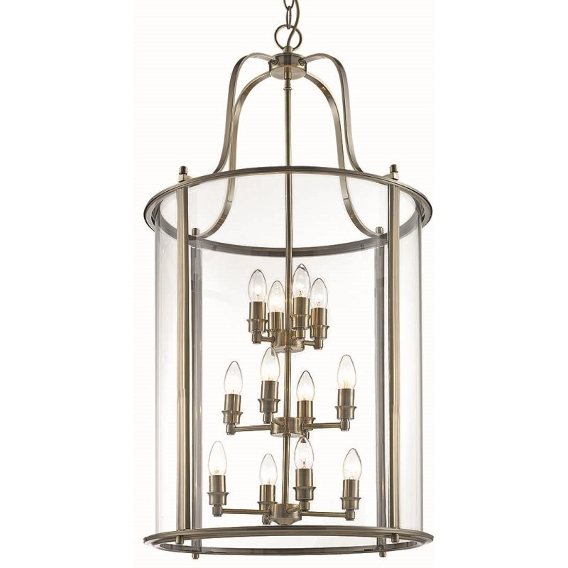 Cork-Lighting-PL4004/12ANT - Lanterns - Antique Brass with Glass 12 Light Lantern Pendant
