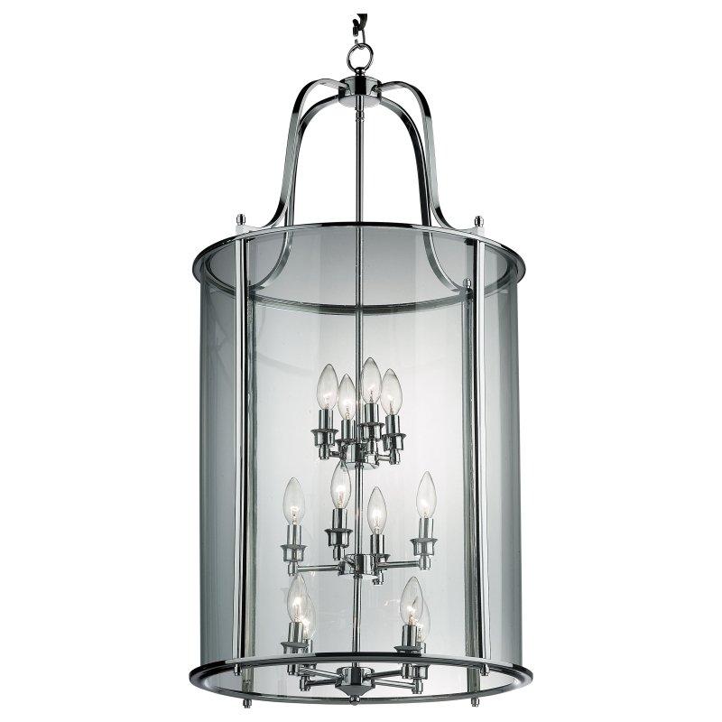 Cork-Lighting-PL4004/12CR - Lanterns - Polished Chrome with Glass 12 Light Lantern Pendant