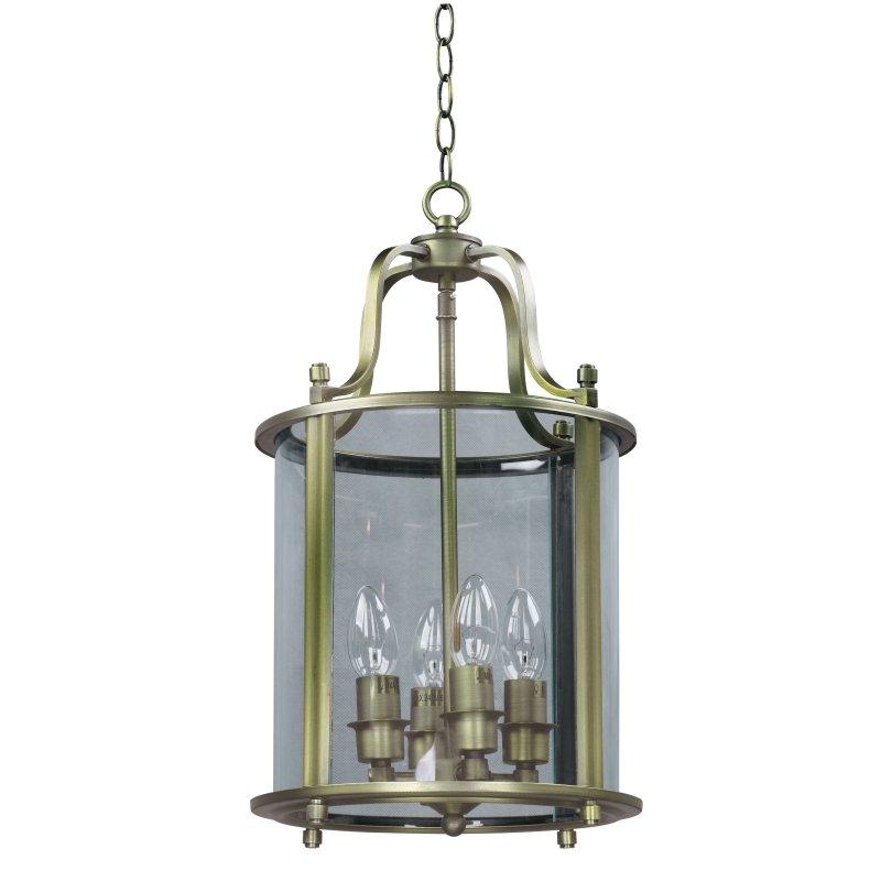 Cork-Lighting-PL4004/4ANT - Lanterns - Antique Brass with Glass 4 Light Lantern Pendant