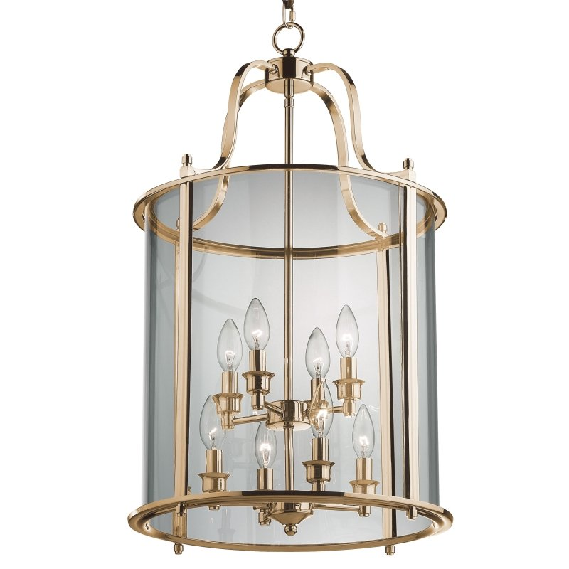 Cork-Lighting-PL4004/8ANT - Lanterns - Antique Brass with Glass 8 Light Lantern Pendant