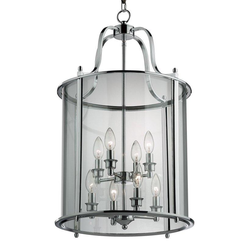 Cork-Lighting-PL4004/8CR - Lanterns - Polished Chrome with Glass 8 Light Lantern Pendant
