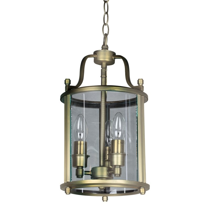 Cork-Lighting-PL5003/3ANT - Lanterns - Antique Brass with Glass 3 Light Lantern Pendant