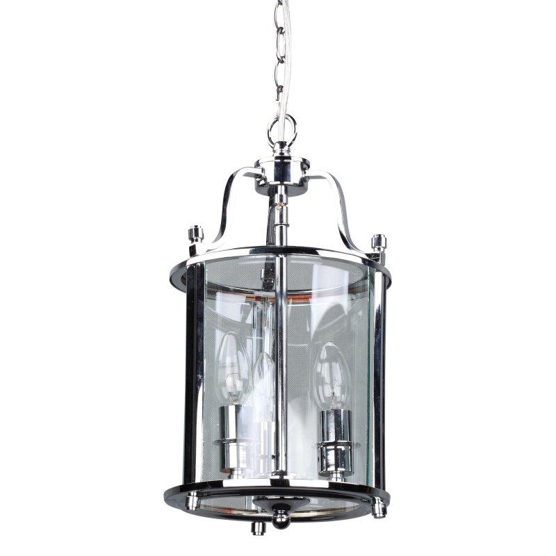 Cork-Lighting-PL5003/3CR - Lanterns - Polished Chrome with Glass 3 Light Lantern Pendant
