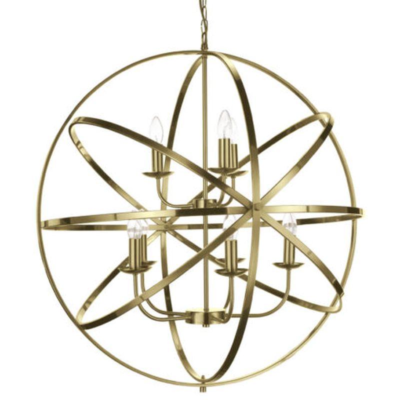 Cork Lighting-PL5343/5+3AB - Besca - Antique Brass 8 Light Spherical Cage Pendant