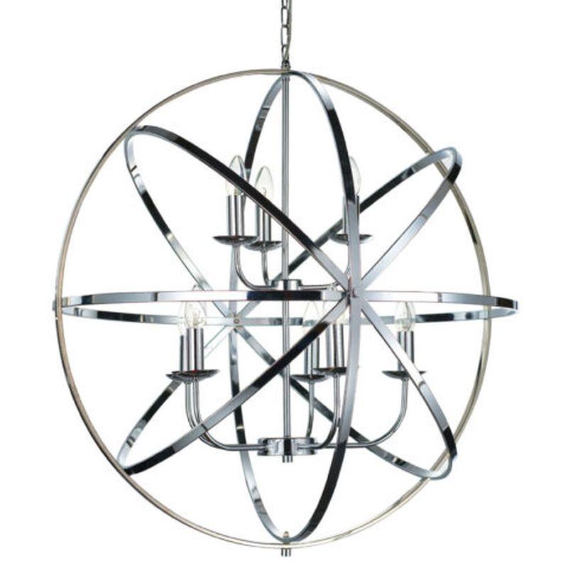 Cork Lighting-PL5343/5+3CR - Besca - Polished Chrome 8 Light Spherical Cage Pendant