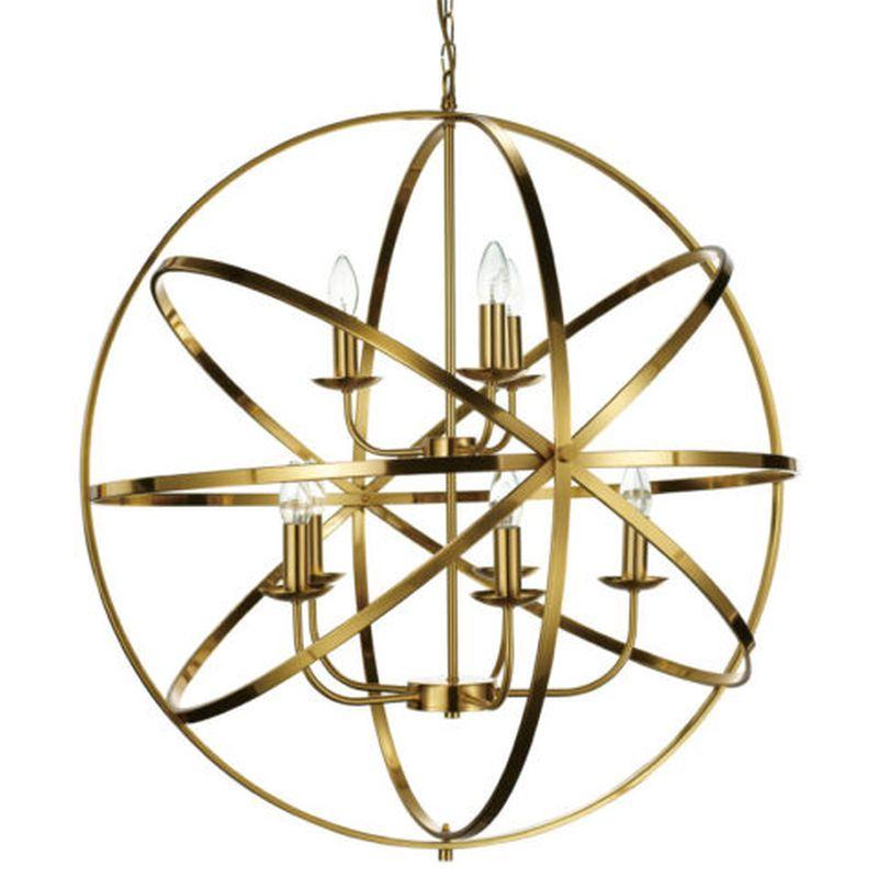 Cork Lighting-PL5343/5+3MB - Besca - Matt Gold 8 Light Spherical Cage Pendant