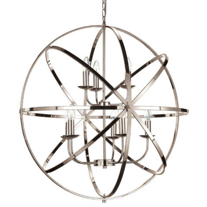 Cork Lighting-PL5343/5+3SN - Besca - Satin Nickel 8 Light Spherical Cage Pendant