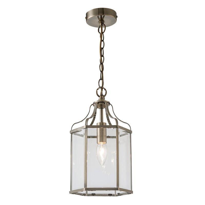Cork Lighting-PL6117/1AB - Cambridge - Clear Glass & Antique Brass Lantern Pendant