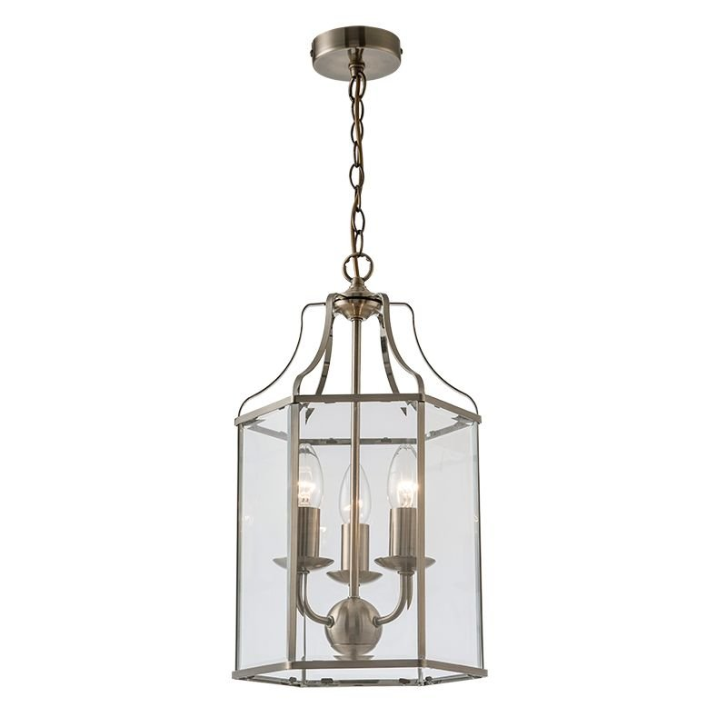 Cork Lighting-PL6117/3AB - Cambridge - Clear Glass & Antique Brass 3 Light Lantern Pendant