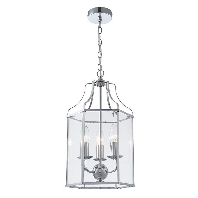 Cork Lighting-PL6117/3CR - Cambridge - Clear Glass & Polished Chrome 3 Light Lantern Pendant