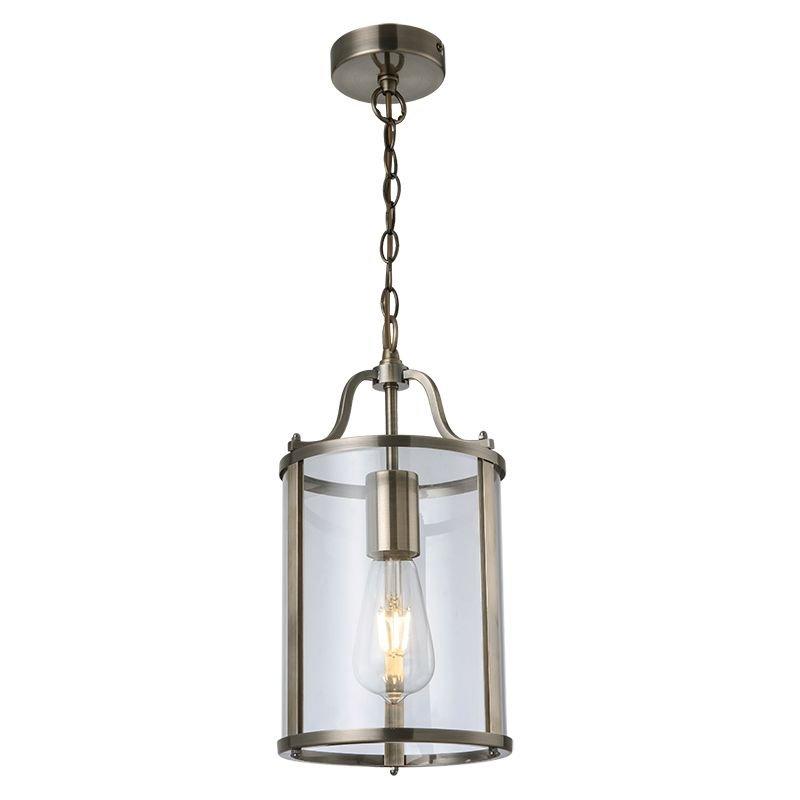 Cork Lighting-PL81165/1AB - Hadley - Clear Glass & Antique Brass Lantern Pendant