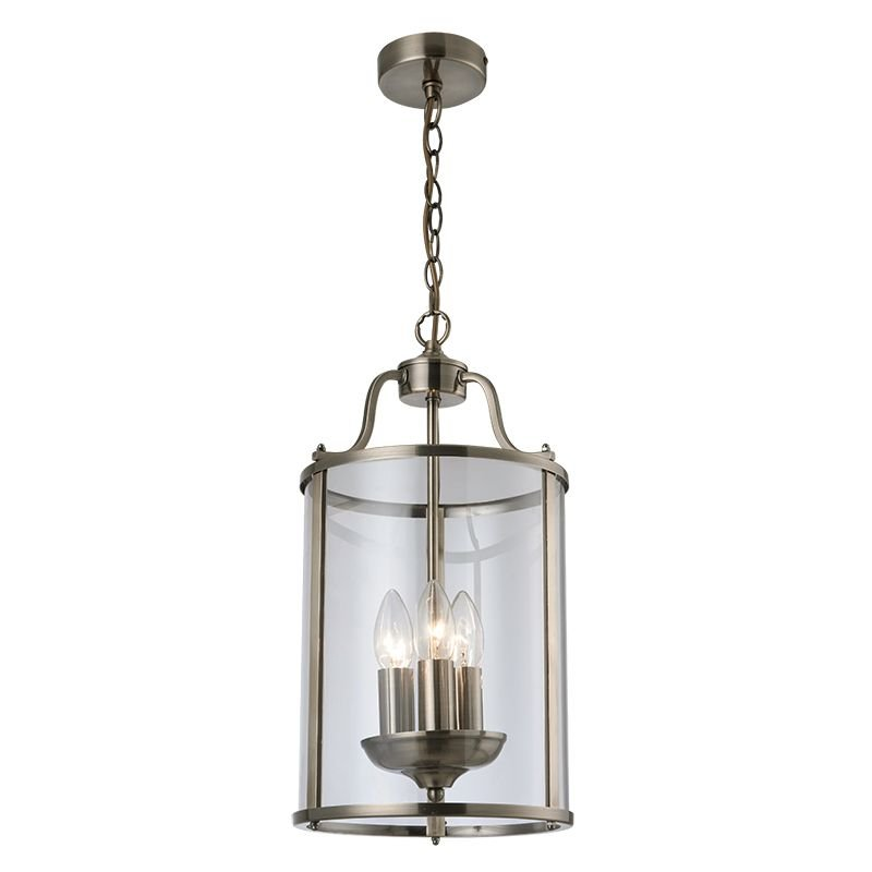 Cork Lighting-PL81165/3AB - Hadley - Clear Glass & Antique Brass 3 Light Lantern Pendant