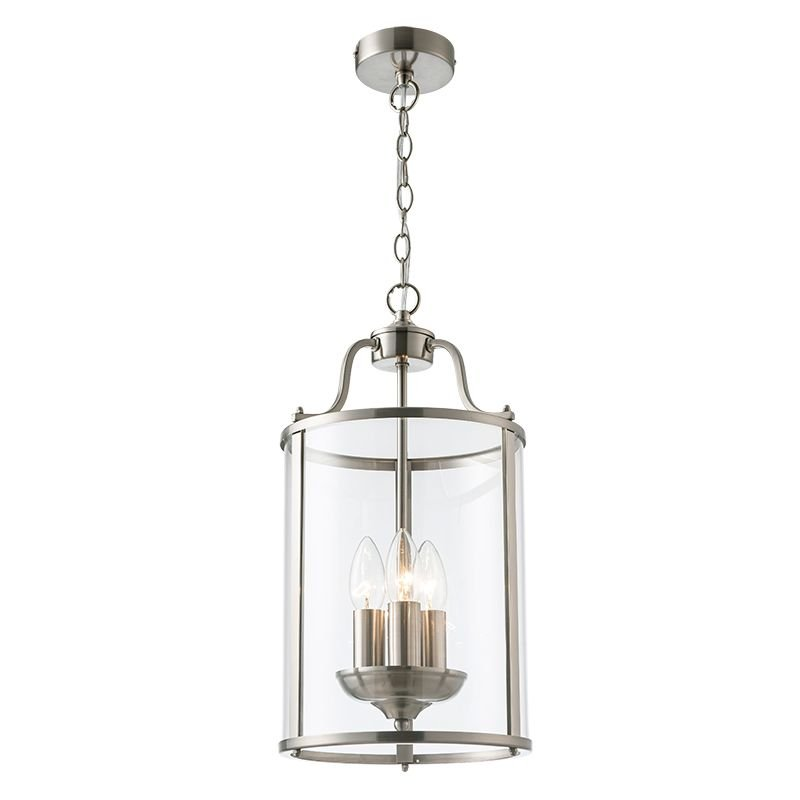 Cork Lighting-PL81165/3SN - Hadley - Clear Glass & Satin Nickel 3 Light Lantern Pendant